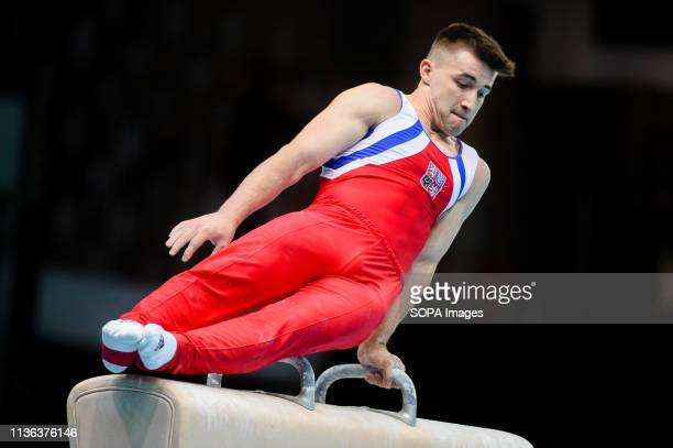 Frantisek Cerny from Czech Republic seen in action on the pommel horse during the men qualifications of 8th European Championships in Artistic...