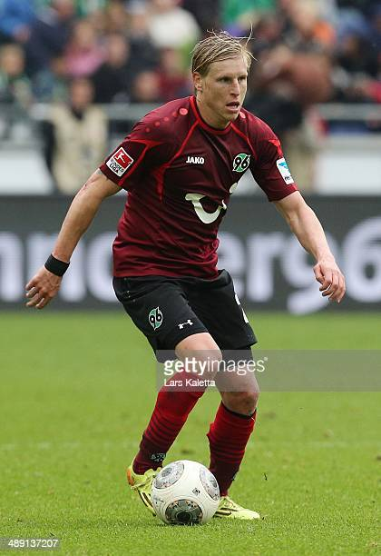 Frantisek Rajtoral of Hanover in action during the Bundesliga match between Hannover 96 and SC Freiburg at HDIArena on May 10 2014 in Hanover Germany