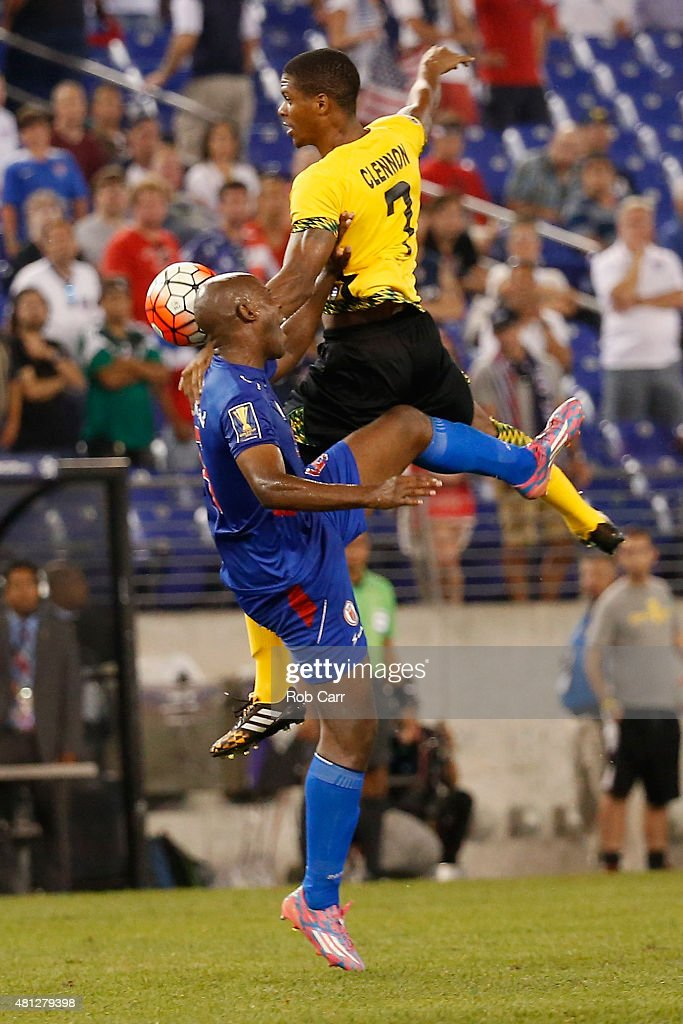 Frantz Bertin #6 of Haiti and Andre Clennon #7 of Jamaica go up for the ball in the second half during the 2015 CONCACAF Gold Cup quarterfinal match at M&T Bank Stadium on July 18, 2015 in Baltimore, Maryland.