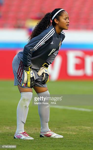 Franyely Rodriguez goalkeepe of Venezuela looks on during the FIFA U17 Women's World Cup 2014 group A match between Venezuela and Zambia at Estadio...