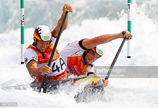 Franz Anton and Jan Benzien of Germany compete during the Men's Canoe Double Slalom heats on Day 3 of the Rio 2016 Olympic Games at the Whitewater...