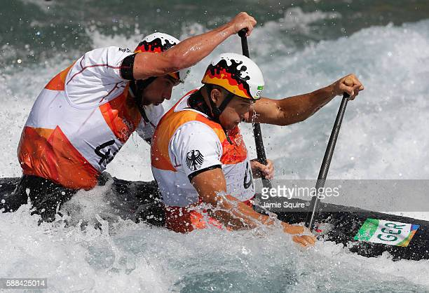 Franz Anton and Jan Benzien of Germany compete during the Men's Canoe Double Semifinal on Day 6 of the Rio 2016 Olympics at Whitewater Stadium on...