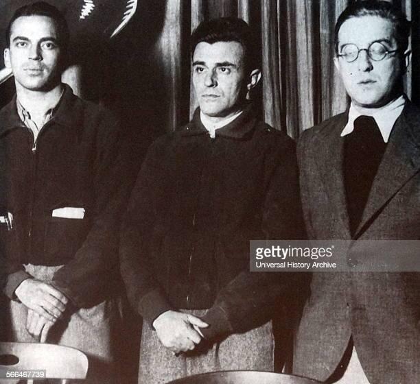 Franz Anton Sanz Spanish communist leader during the Spanish Civil War with José Díaz Ramos and Mikhail Koltsov