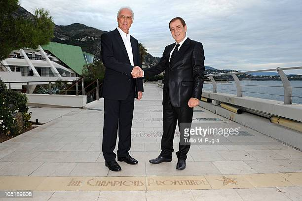 Franz Beckenbauer and Antonio Caliendo pose on The Champions Promenade before the Golden Foot Awards ceremony at Fairmont Hotel on October 11 2010 in...