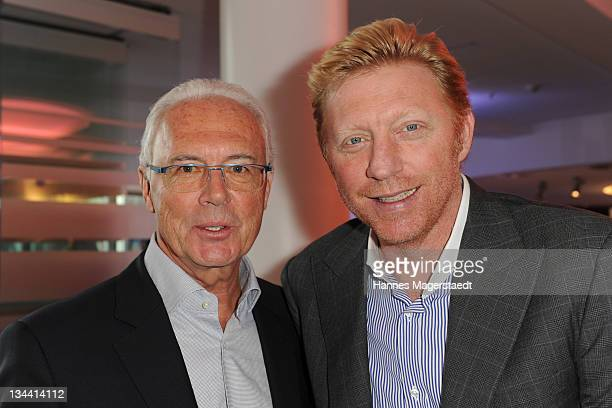 Franz Beckenbauer and Boris Becker attend the Sky Sports News HD Stations Start at the SKY head office on December 01 2011 in Munich Germany