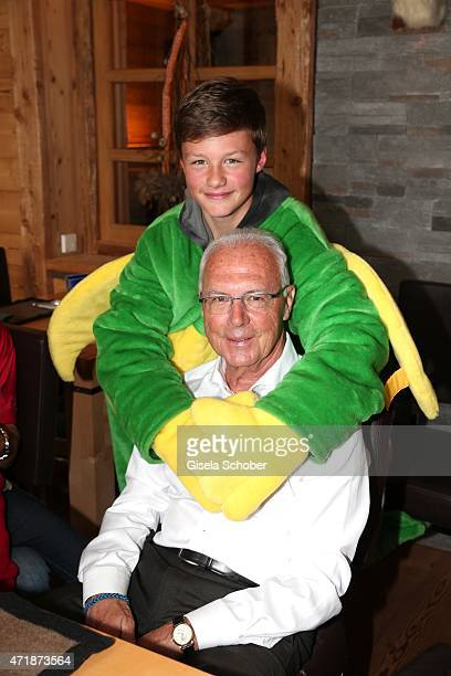 Franz Beckenbauer and grandson of Franz Roth Rufus Roth during the Franz Roth Golf Cup gala evening in favour of Michael Roll Stiftung 'Tabaluga' on...