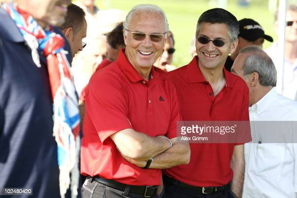 Franz Beckenbauer and Herbert Hainer CEO of German sportswear and equipment group Adidas attend the TaylorMadeadidas Golf ProAm tournament on June 28...