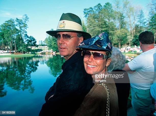 Franz Beckenbauer and his partner Sybille Beckenbauer are seen at the Golf Masters on April 1993 in Augusta USA