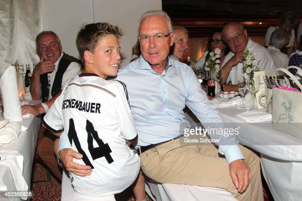 Franz Beckenbauer and his son Joel Maximilian Beckenbauer attend the get together at 'Bayerischer Abend' prior the Kaiser Cup 2014 at hotel...
