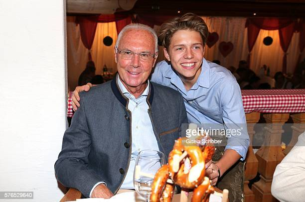 Franz Beckenbauer and his son Joel Maximilian Beckenbauer during a bavarian evening ahead of the Kaiser Cup 2016 on July 15 2016 in Bad Griesbach...