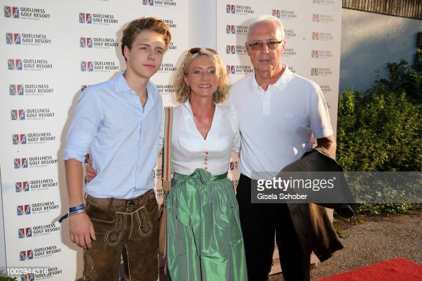 Franz Beckenbauer and his wife Heidi and their son Joel Beckenbauer during a bavarian evening ahead of the Kaiser Cup 2018 on July 20 2018 in Bad...