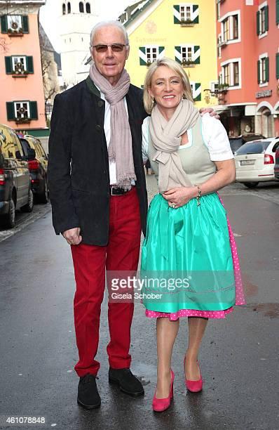 Franz Beckenbauer and his wife Heidi arrive for the NeujahrsKarpfenessen at Hotel zur Tenne on January 6 2015 in Kitzbuehel Austria