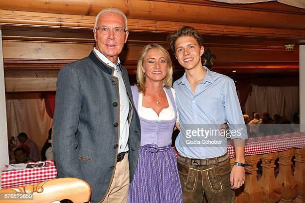 Franz Beckenbauer and his wife Heidi Beckenbauer and their son Joel Maximilian Beckenbauer during a bavarian evening ahead of the Kaiser Cup 2016 on...