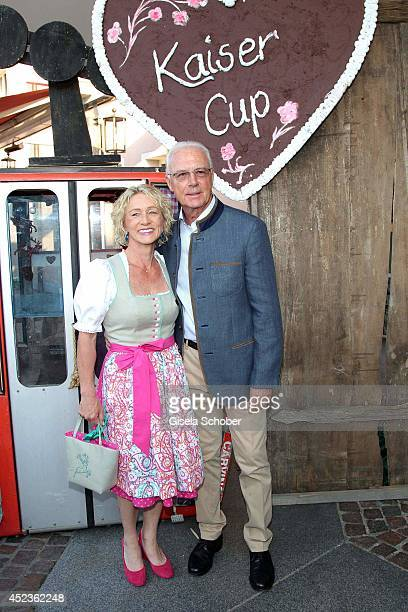 Franz Beckenbauer and his wife Heidi Beckenbauer attend the get together at Bayerischer Abend prior the Kaiser Cup 2014 at hotel Maximilian on July...