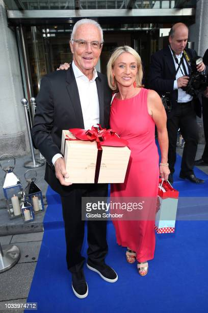 Franz Beckenbauer and his wife Heidi Beckenbauer during the arrival to the wedding dinner of Ralph Siegel and Laura Kaefer at Palais Lenbach on...