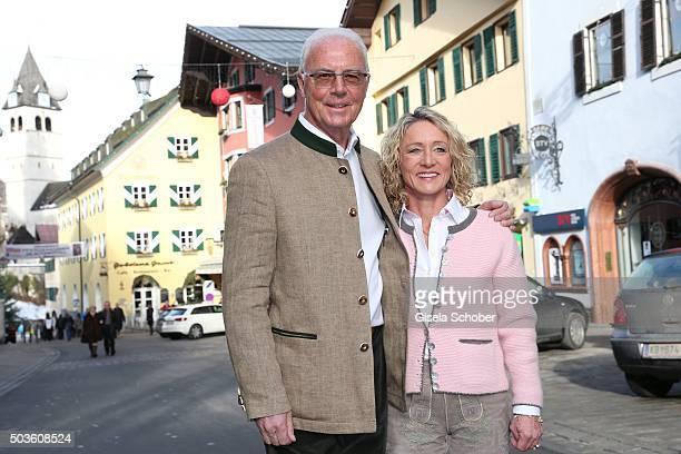 Franz Beckenbauer and his wife Heidi Beckenbauer during the NeujahrsKarpfenessen at Hotel zur Tenne on January 6 2016 in Kitzbuehel Austria
