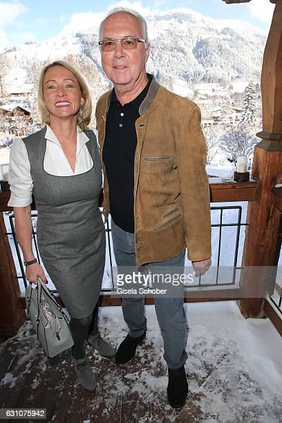 Franz Beckenbauer and his wife Heidi Beckenbauer during the NeujahrsKarpfenessen at Hotel Kitzhof on January 6 2017 in Kitzbuehel Austria