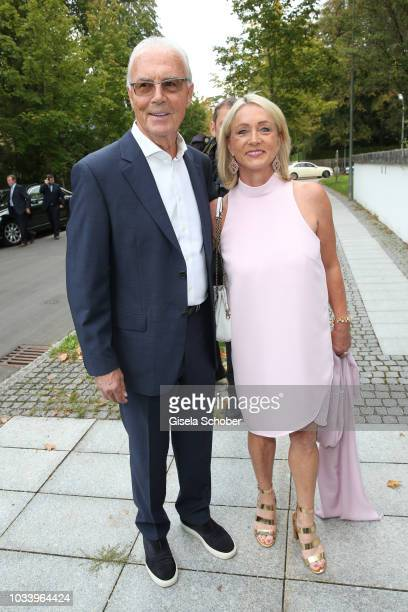 Franz Beckenbauer and his wife Heidi Beckenbauer during the church wedding of Ralph Siegel and Laura Kaefer at the protestant church Thomaskirche...