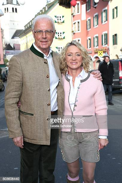 Franz Beckenbauer and his wife Heidi Beckenbauer wearing traditional leather trousers during the NeujahrsKarpfenessen at Hotel zur Tenne on January 6...