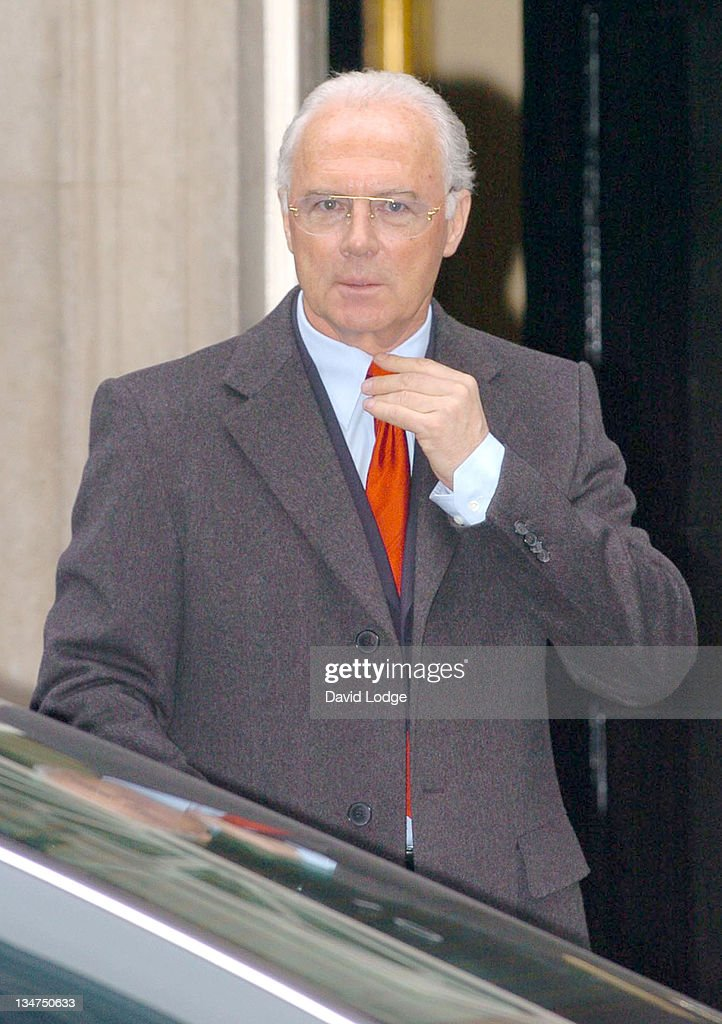 Franz Beckenbauer arrives at 10 Downing Street in central London, February 2, 2006, to meet Prime Minister Tony Blair and other guests from the world of sport, politics and the media to discuss preparations for the World Cup 2006 held in Germany.