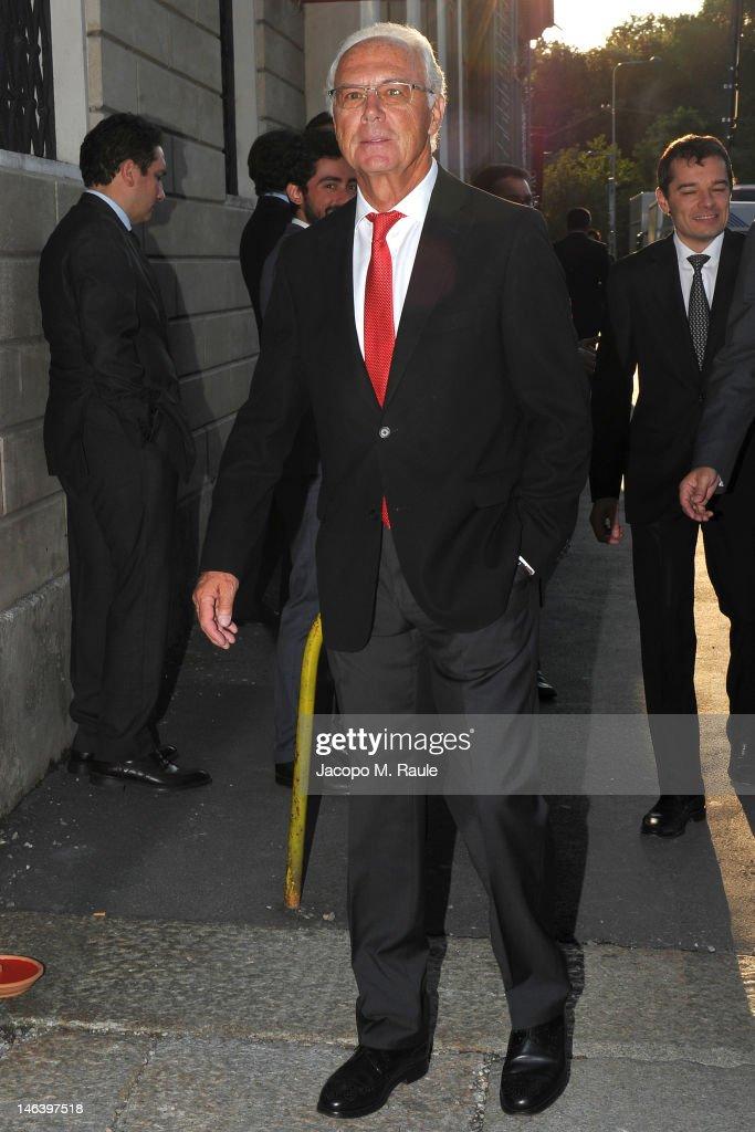 Franz Beckenbauer arrives at Rupert Murdoch Host Sky Gala Dinner at PAC on June 12, 2012 in Milan, Italy.