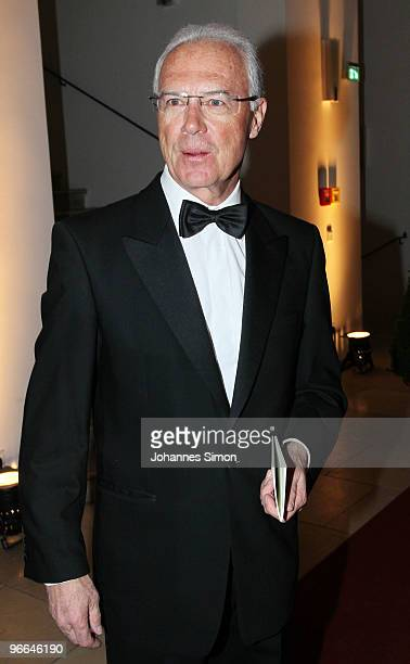Franz Beckenbauer arrives for the Hubert Burda Birthday Reception at Munich royal palace on February 12 2010 in Munich Germany