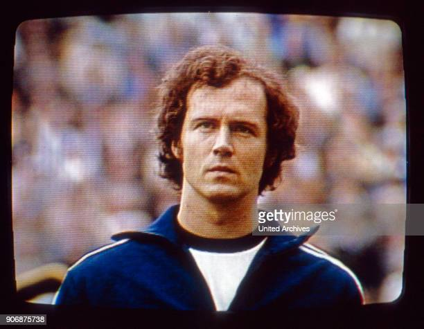 Franz Beckenbauer at the Football World Championship final in Munich Olympic Stadium Germany 1970s