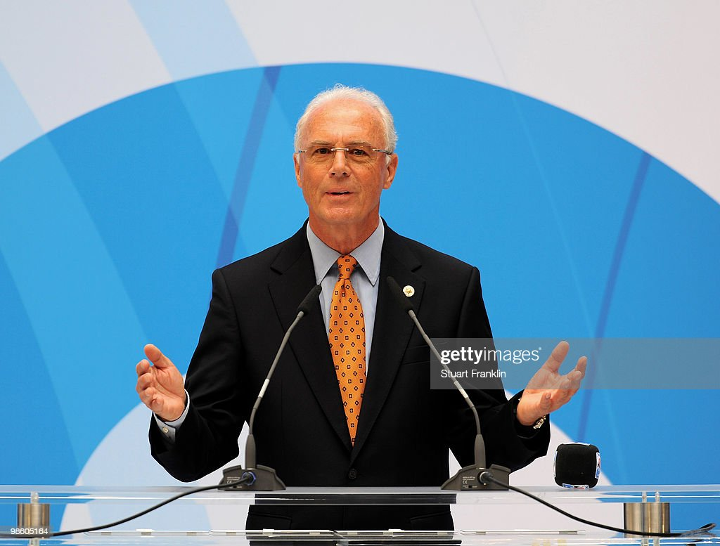 Franz Beckenbauer, chairman of the FIFA U-20 and U-17 Women�s World Cup Committee speaks during the FIFA U-20 Women's World Cup draw on April 22, 2010 in Dresden, Germany.