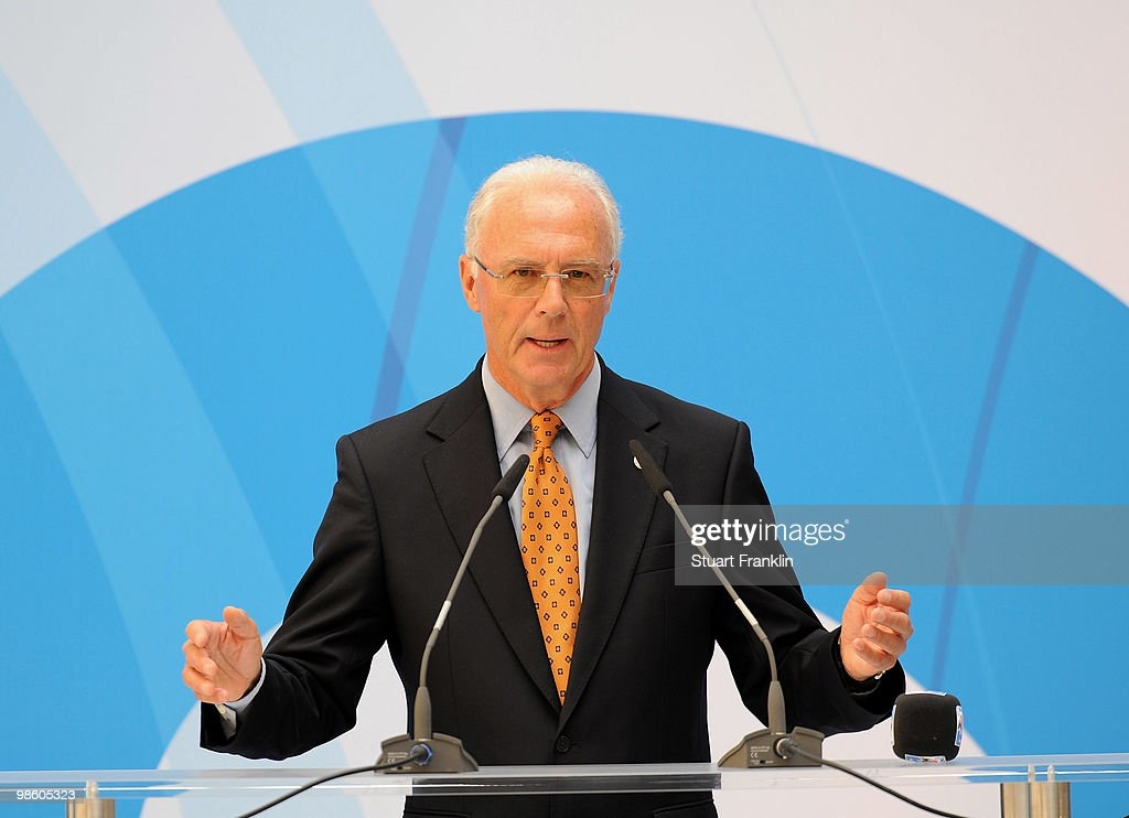Franz Beckenbauer, chairman of the FIFA U20 and U17 Women's World Cup Committee speaks during the FIFA U20 Women's World Cup draw on April 22, 2010 in Dresden, Germany.