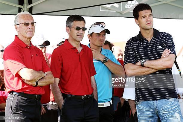 Franz Beckenbauer Herbert Hainer CEO of German sportswear and equipment group Adidas and Michael Ballack attend the TaylorMadeadidas Golf ProAm...