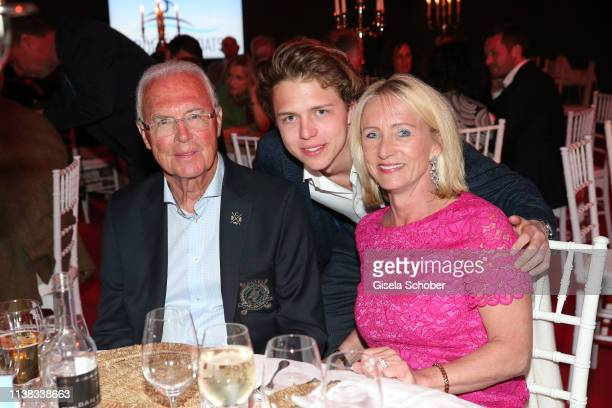 Franz Beckenbauer his son Joel Beckenbauer and his wife Heidi Beckenbauer during the FCR EAGLES Masters Toscana golf tournament Dinner of FalkRaudies...