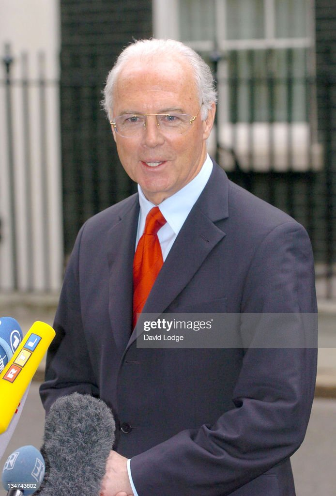 Franz Beckenbauer leaves 10 Downing Street in central London, February 2, 2006, after a meeting with Prime Minister Tony Blair and other guests from the world of sport, politics and the media to discuss preparations for the World Cup 2006 held in Germany.