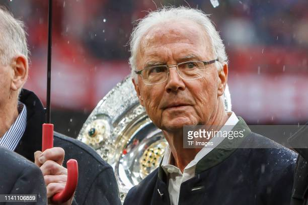 Franz Beckenbauer looks on during the Bundesliga match between FC Bayern Muenchen and Hannover 96 at Allianz Arena on May 4 2019 in Munich Germany