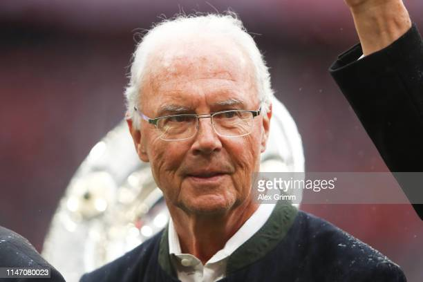 Franz Beckenbauer looks on prior to the Bundesliga match between FC Bayern Muenchen and Hannover 96 at Allianz Arena on May 04 2019 in Munich Germany