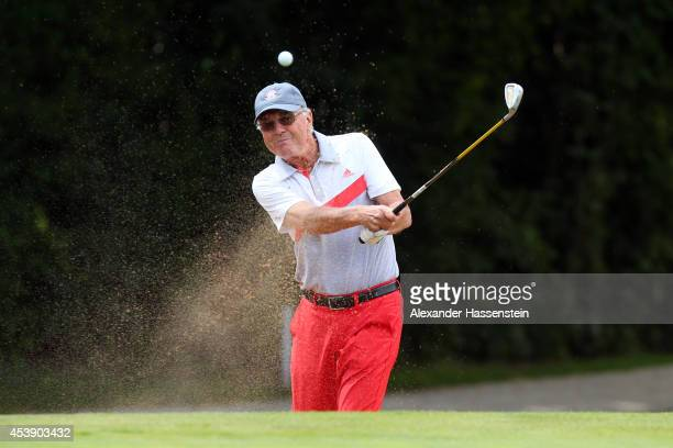 Franz Beckenbauer plays a bunker shot during the 19th FC Bayern Muenchen Charity Golf Cup at Golf Club Ingolstadt on August 21 2014 in Ingolstadt...