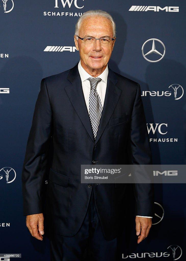Franz Beckenbauer poses prior to the Laureus Media Award 2014 at Grand Hyatt Hotel on November 12, 2014 in Berlin, Germany.