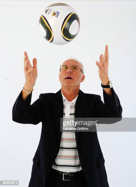 Franz Beckenbauer presents the official match ball for the FIFA World Cup 2010 on December 4 2009 in Cape Town South Africa