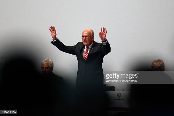 Franz Beckenbauer President of Bayern Muenchen reacts during the FC Bayern Muenchen general meeting at the Neue Messe Munich on November 27 2009 in...