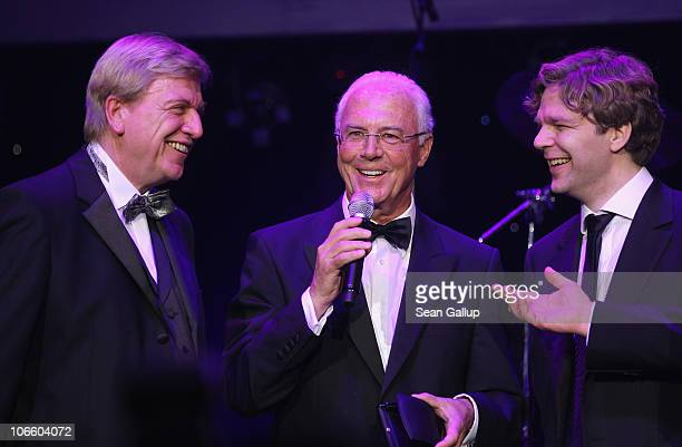 Franz Beckenbauer speaks after receiving his award from Hesse Governor Volker Bouffier and Michael Steinbrecher at the Sportpresseball 2010 at Alte...