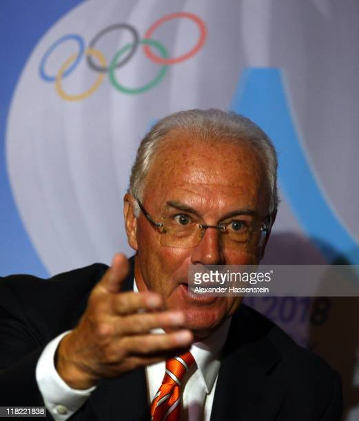 Franz Beckenbauer talks to the media during a press conference on July 5 2011 in Durban South Africa The IOC will announce the host city for the...