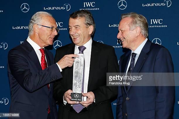 Franz Beckenbauer Wolfgang Niersbach and Joachim Schmid attend the Laureus Media Award 2012 on November 05 2012 in Kitzbuehel Austria