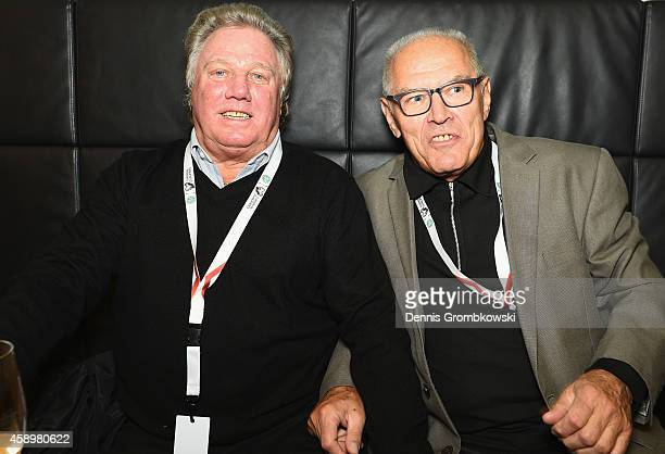 Franz Brungs and and Georg Volkert pose during the Club of former national players meeting at GrundigStadion on November 14 2014 in Nuremberg Germany