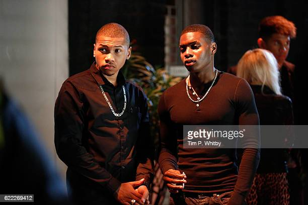 Franz Drameh and Duayne Baochie on set of 100 Streets in Chelsea on August 22 2014 in London England