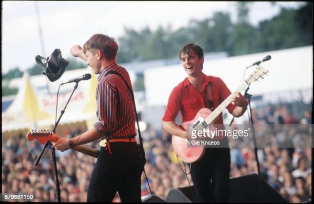 Franz Ferdinand Alex Kapranos Nick McCarthy performing on stage Pukkelpopfestival Hasselt Belgium 21st August 2004