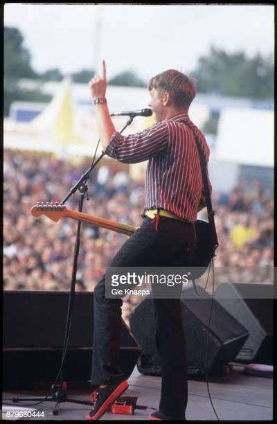Franz Ferdinand Alex Kapranos performing on stage Pukkelpopfestival Hasselt Belgium 21st August 2004