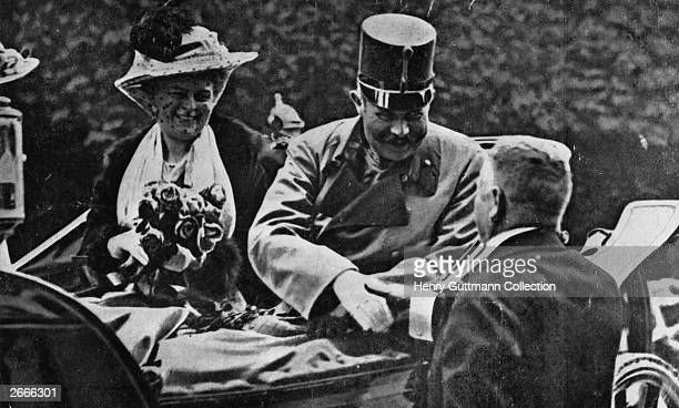 Franz Ferdinand, archduke of Austria, and his wife Sophie riding in an open carriage at Sarajevo shortly before their assassination.