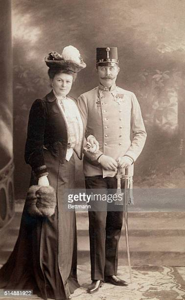 Franz Ferdinand Archduke of Austria with his wife Countess Choleck Both were assassinated at Sarajevo in August 1914 Photograph standing full length