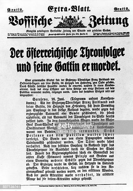 Franz Ferdinand Archduke of AustriaEste Crown Prince of AustriaHungary Special Edition of the 'Vossische Zeitung' because of the assassination of...