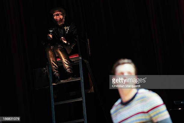 Franz Hartwig and Ulrich Hoppe perform on stage during rehearsals for 'The Black Rider' at Schaubuehne am Lehniner Platz Berlin on November 22 2012...