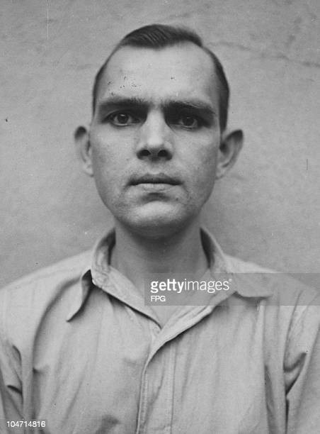 Franz Horich, a guard at the Bergen-Belsen concentration camp, Germany, circa 1945. Charged with war crimes and crimes against humanity, Horich is...